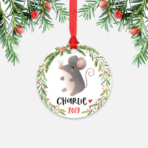 Mouse Animal Personalized Kids Name Christmas Ornament for Boy or Girl - Round Aluminum - Red ribbon