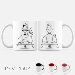 Mr and Mrs Chicken Rooster Hen Set of 2 Two Personalized Couple Ceramic Coffee Mugs for Animal Lover Wedding Engagement Gift - By Happy Cat Prints