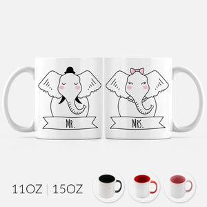 Mr and Mrs Elephant Set of 2 Two Personalized Couple Ceramic Coffee Mugs for Animal Lover Wedding Engagement Gift - By Happy Cat Prints