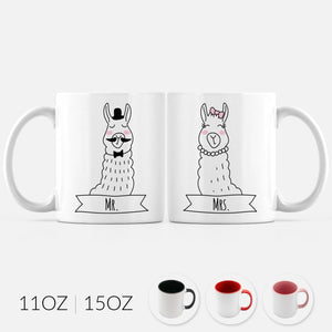 Mr and Mrs Llama Alpaca Set of 2 Two Personalized Couple Ceramic Coffee Mugs for Animal Lover Wedding Engagement Gift - By Happy Cat Prints