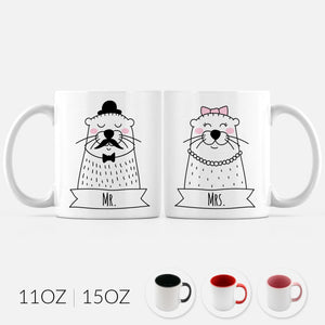 Mr and Mrs Otter Set of 2 Two Personalized Couple Ceramic Coffee Mugs for Animal Lover Wedding Engagement Gift - By Happy Cat Prints