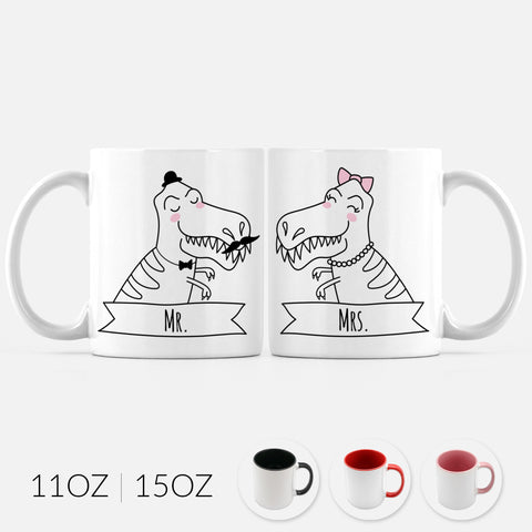 Mr and Mrs T-Rex Dinosaur Set of 2 Two Personalized Couple Ceramic Coffee Mugs for Animal Lover Wedding Engagement Gift - By Happy Cat Prints