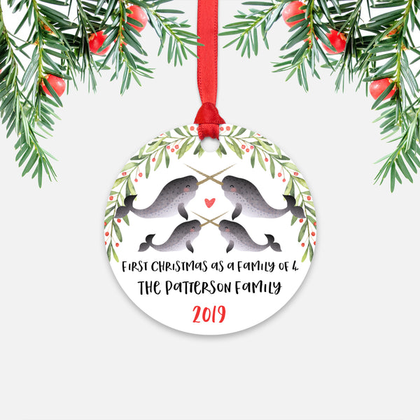 Narwhal Animal First Christmas as a Family of 4 Personalized Ornament for New Baby Girl Boy - Round Aluminum - Red ribbon