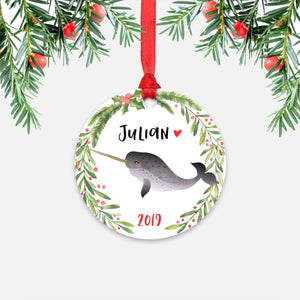Narwhal Sea Ocean Animal Personalized Kids Name Christmas Ornament for Boy or Girl - Round Aluminum - Red ribbon