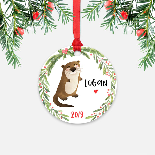 Otter Sea Ocean Animal Personalized Kids Name Christmas Ornament for Boy or Girl - Round Aluminum - Red ribbon