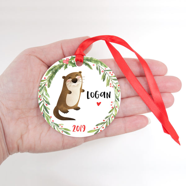 Otter Sea Ocean Animal Personalized Kids Name Christmas Ornament for Boy or Girl - Round Aluminum - In hand