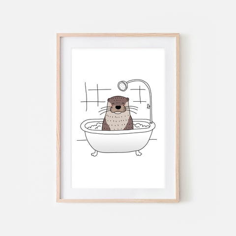 Otter - Animal in Bathtub Art - Funny Sea Theme Bathroom Wall Decor for Kids - Printable Digital Download Illustration
