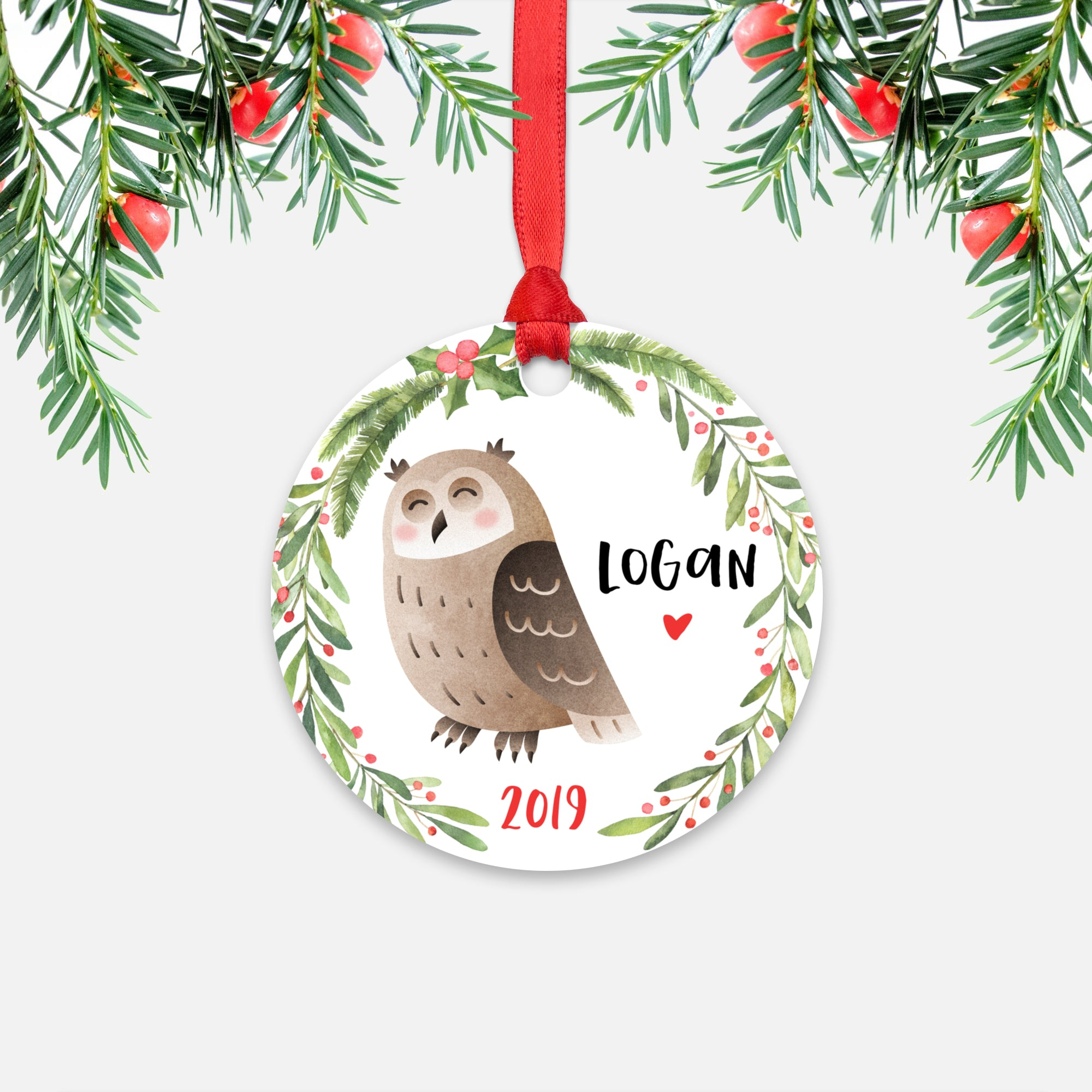 Owl Woodland Animal Personalized Kids Name Christmas Ornament for Boy or Girl - Round Aluminum - Red ribbon