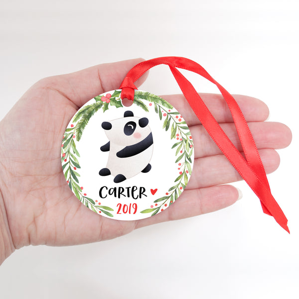 Panda Bear Animal Personalized Kids Name Christmas Ornament for Boy or Girl - Round Aluminum - In hand