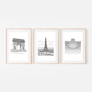 Set of 3 Paris Wall Art - Arc de Triomphe Eiffel Tower Louvre Pyramid - Black and White Line Drawing - Print, Poster or Printable Download