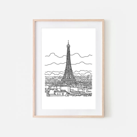 Paris No. 1 - Eiffel Tower Wall Art - Black and White Line Drawing - Print, Poster or Printable Download