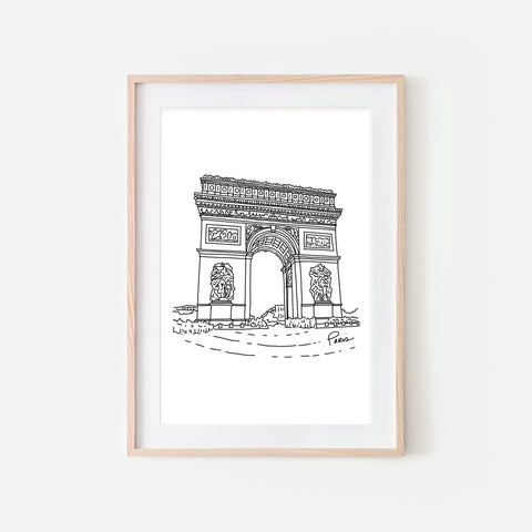 Paris No. 2 - Arc de Triomphe Wall Art - Black and White Line Drawing - Print, Poster or Printable Download