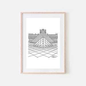 Paris No. 3 Louvre Museum Pyramid Wall Art - Black and White Line Drawing - Print, Poster or Printable Download