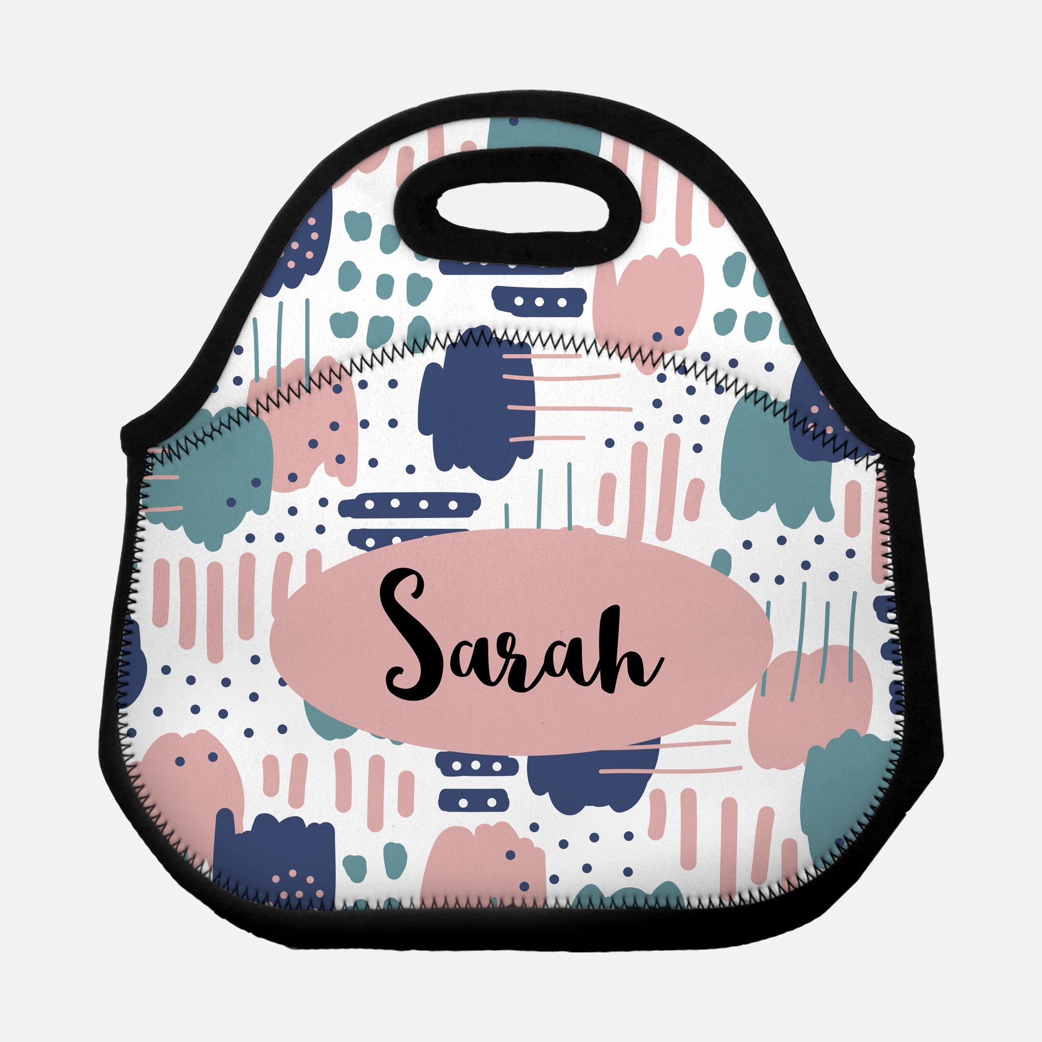 Abstract Trendy Modern Artistic Brush Strokes Pattern Blush Pink Teal Navy Blue Personalized Name Lunch Tote Bag Neoprene Insulated - By Happy Cat Prints