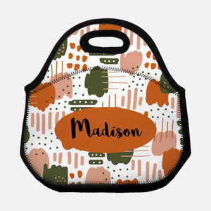 Abstract Trendy Modern Artistic Brush Strokes Pattern Earth Tones Beige Pink Tan Burnt Orange Olive Green Personalized Name Lunch Tote Bag Neoprene Insulated - By Happy Cat Prints