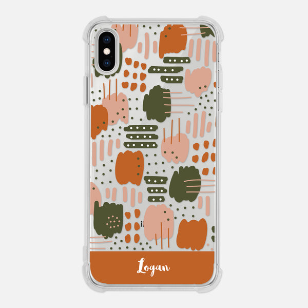 Abstract Trendy Modern Artistic Brush Strokes Pattern Earth Tones Tan Beige Pink Burnt Orange Olive Green Personalized iPhone Case Clear 6 6s 7 Plus 8 Plus X XR XS Max - By Happy Cat Prints