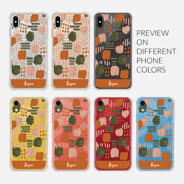 Abstract Trendy Modern Artistic Brush Strokes Pattern Earth Tones Tan Beige Pink Burnt Orange Olive Green - Preview on Different Phone Colors - Silver Rose Gold Black Yellow Coral Red Blue - Personalized iPhone Case Clear 6 6s 7 Plus 8 Plus X XR XS Max - By Happy Cat Prints
