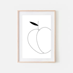 Peach No 1 Fruit Wall Art - Black and White Line Drawing - Print, Poster or Printable Download