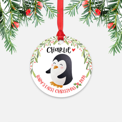 Penguin Arctic Animal Personalized Baby's First Christmas Ornament for Boy or Girl - Round Aluminum - Red ribbon