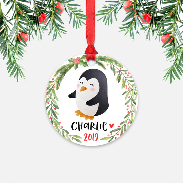 Penguin Animal Personalized Kids Name Christmas Ornament for Boy or Girl - Round Aluminum - Red ribbon