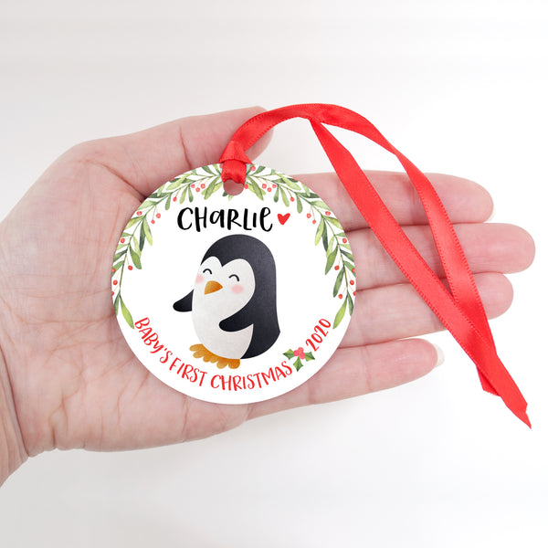 Penguin Arctic Animal Personalized Baby's First Christmas Ornament for Boy or Girl - Round Aluminum - In hand