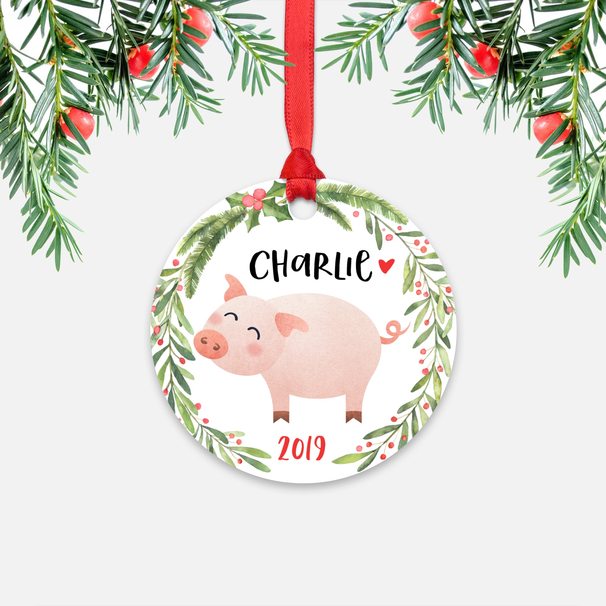 Pig Farm Animal Personalized Kids Name Christmas Ornament for Boy or Girl - Round Aluminum - Red ribbon