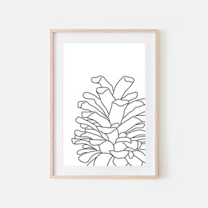 Pine Cone No. 2 Woodland Wall Art - Black and White Line Drawing - Print, Poster or Printable Download