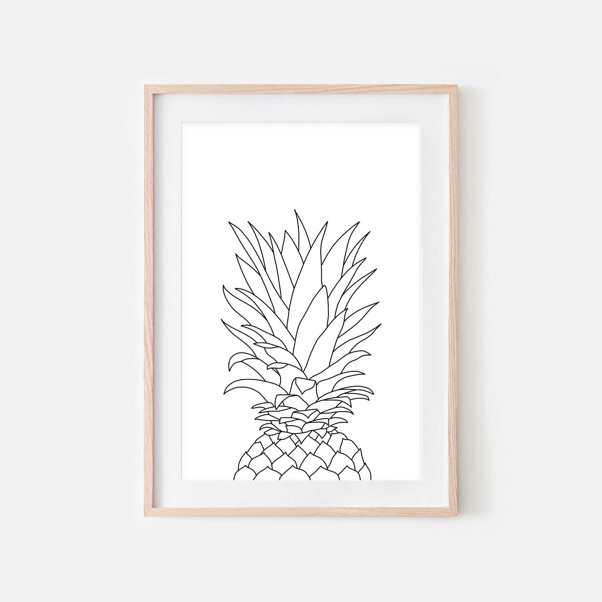 Pineapple No. 1 Line Art - Minimalist Fruit Drawing - Tropical Beach Kitchen Wall Decor - Black and White Print, Poster or Printable Download