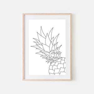 Pineapple No. 2 Line Art - Minimalist Fruit Drawing - Tropical Beach Kitchen Wall Decor - Black and White Print, Poster or Printable Download