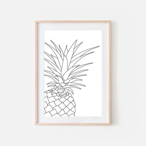 Pineapple No. 4 Line Art - Minimalist Fruit Drawing - Beach Tropical Kitchen Wall Decor - Black and White Print, Poster or Printable Download
