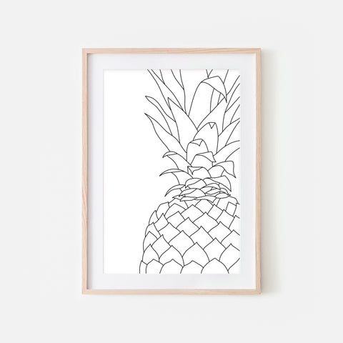 Pineapple No. 5 Line Art - Minimalist Fruit Drawing - Beach Tropical Kitchen Wall Decor - Black and White Print, Poster or Printable Download