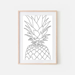 Pineapple No. 6 Line Art - Minimalist Fruit Drawing - Beach Tropical Kitchen Wall Decor - Black and White Print, Poster or Printable Download