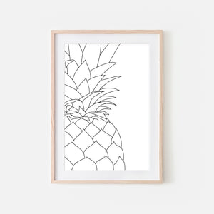 Pineapple No. 7 Line Art - Minimalist Fruit Drawing - Beach Tropical Kitchen Wall Decor - Black and White Print, Poster or Printable Download