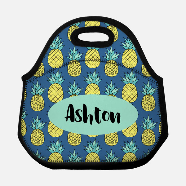Pineapple Pattern Tropical Fruit Yellow Mint Green Navy Blue Personalized Name Lunch Tote Bag Neoprene Insulated - By Happy Cat Prints