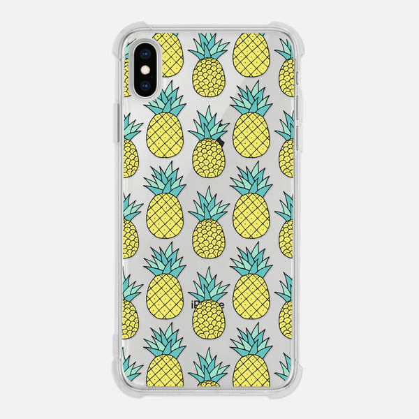 Pineapple Pattern Tropical Fruit Clear iPhone Case for XR XS Max X 8 7 6 6s Plus - By Happy Cat Prints