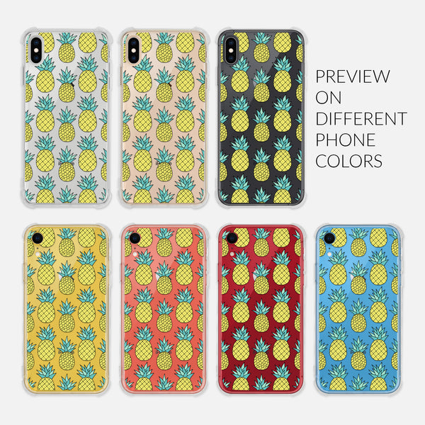 Pineapple Pattern Tropical Fruit - Preview on Different Phone Colors - Silver Rose Gold Black Yellow Coral Red Blue - Clear iPhone Case for 6 6s 7 8 Plus X XR XS Max - By Happy Cat Prints