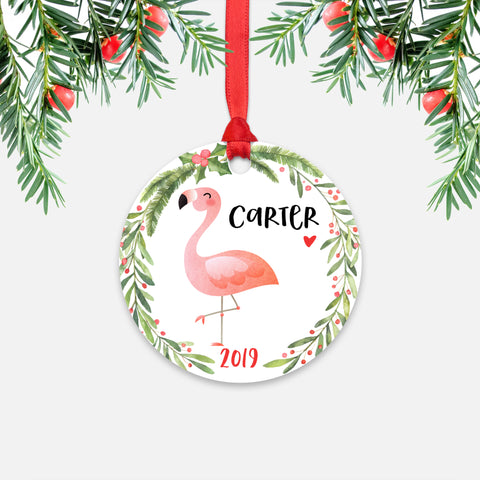 Pink Flamingo Bird Tropical Animal Personalized Kids Name Christmas Ornament for Boy or Girl - Round Aluminum - Red ribbon