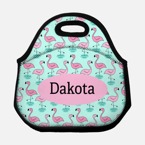 Pink Flamingo Bird Pattern Tropical Aqua Personalized Name Lunch Tote Bag Neoprene Insulated - By Happy Cat Prints