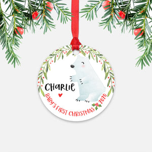 Polar Bear Arctic Animal Personalized Baby's First Christmas Ornament for Boy or Girl - Round Aluminum - Red ribbon
