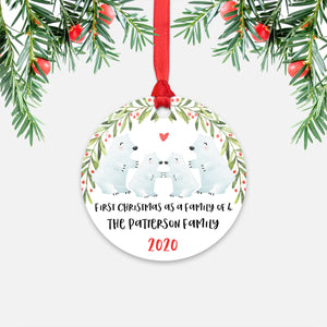 Polar Bear Animal First Christmas as a Family of 4 Personalized Ornament for New Baby Girl Boy - Round Aluminum - Red ribbon