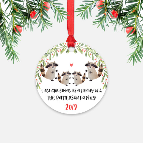 Raccoon Animal First Christmas as a Family of 4 Personalized Ornament for New Baby Girl Boy - Round Aluminum - Red ribbon