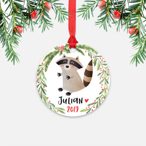 Raccoon Woodland Animal Personalized Kids Name Christmas Ornament for Boy or Girl - Round Aluminum - Red ribbon