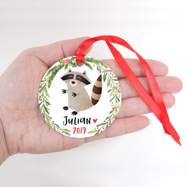 Raccoon Woodland Animal Personalized Kids Name Christmas Ornament for Boy or Girl - Round Aluminum - In hand