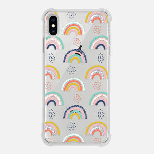 Rainbow and Dots Pattern Abstract Colorful Modern Trendy Clear iPhone Case for iPhone 11 Pro Max XR XS X 8 7 6 6s Plus - By Happy Cat Prints
