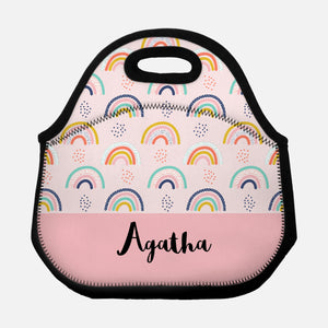 Rainbow Dots Abstract Pattern Pink Personalized Name Lunch Tote Bag Neoprene Insulated Lunch Box for School Work Office Kids Adults Women Men Girls Boys - By Happy Cat Prints