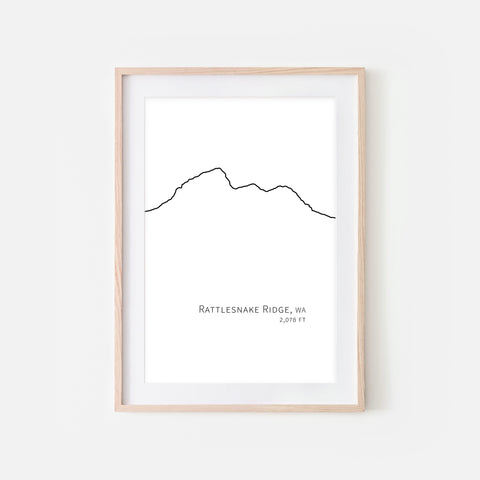 Rattlesnake Ridge Cascade Range Pacific Northwest PNW Washington State WA USA Mountain Wall Art Print - Minimalist Peak Summit Elevation Contour One Line Drawing - Abstract Landscape - Black and White Home Decor Climbing Hiking Decor - Large Small Shipped Paper Print or Poster - OR - Downloadable Art Print DIY Digital Printable Instant Download - By Happy Cat Prints