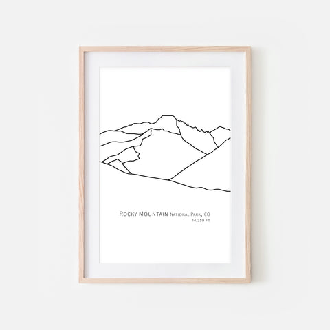 Rocky Mountain National Park Colorado CO USA Wall Art Print - Abstract Minimalist Landscape Contour One Line Drawing - Black and White Home Decor Outdoors Hiking Decor - Large Small Shipped Paper Print or Poster - OR - Downloadable Art Print DIY Digital Printable Instant Download - By Happy Cat Prints