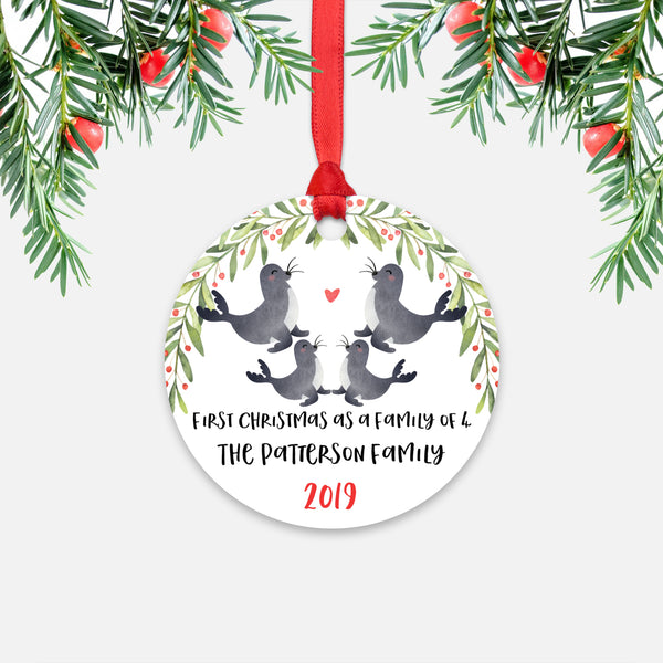 Seal Animal First Christmas as a Family of 4 Personalized Ornament for New Baby Girl Boy - Round Aluminum - Red ribbon