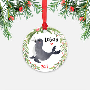 Seal Sea Ocean Animal Personalized Kids Name Christmas Ornament for Boy or Girl - Round Aluminum - Red ribbon