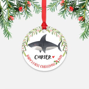 Shark Sea Ocean Animal Personalized Baby's First Christmas Ornament for Boy or Girl - Round Aluminum - Red ribbon